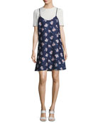 Kinney Scattered Garden Dress, Blue Pattern