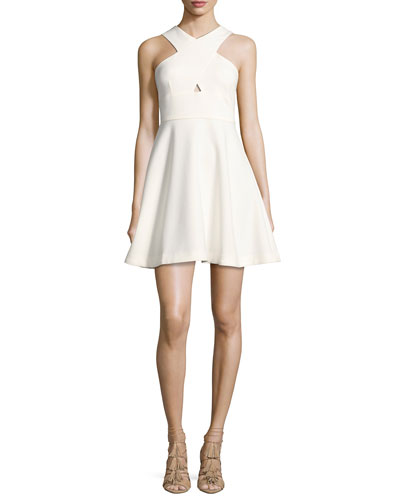 Kensington Crisscross Sleeveless Dress, White