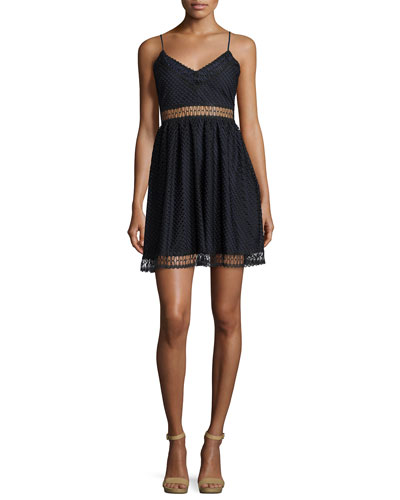 Glencoe Fence Lace Sleeveless Dress, Blue/Black