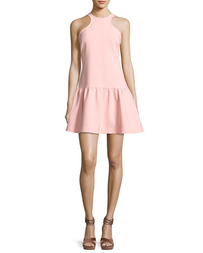 Leila Sleeveless Drop-Waist Short Dress, Pink