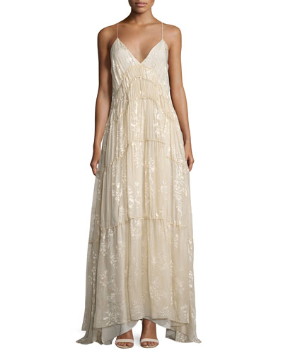 Tunnels of Love Flocked Floral Gown, Antique White
