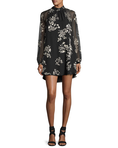 The Mentor Floral Mini Dress, Black
