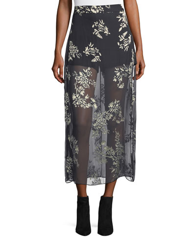 The Midi Slayer Velvet Maxi Skirt, Black