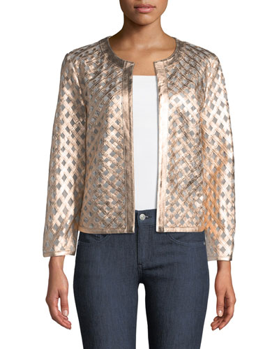 Leather Grid Jacket, Light Pink