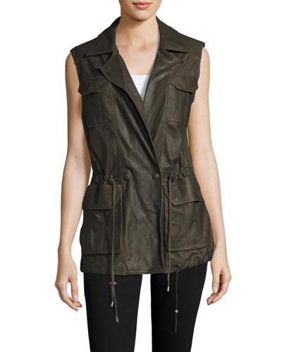 Goat Leather Anorak Vest, Olive