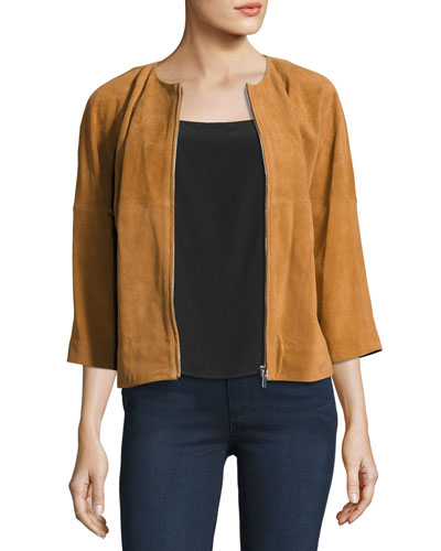 Cropped Suede Bomber Jacket, Luggage