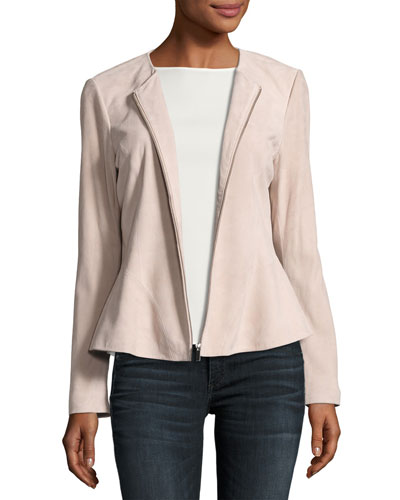 Zip-Front Suede Peplum Jacket, Blush