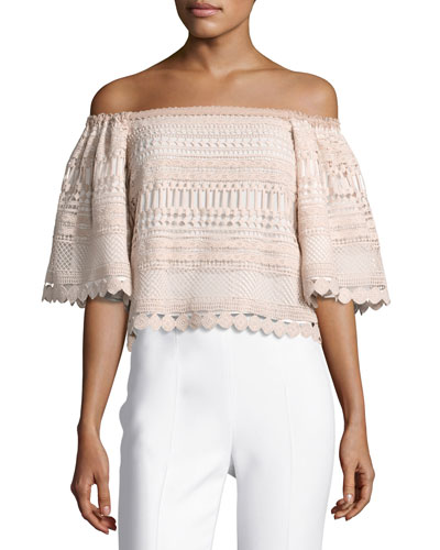 Finn Off-the-Shoulder Lace Top, Beige