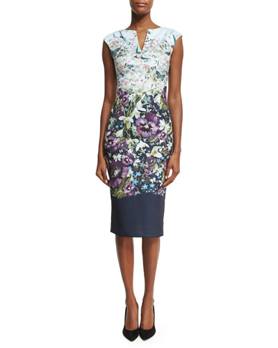 Tiha Entangled Enchantment Floral Sheath Dress, Blue