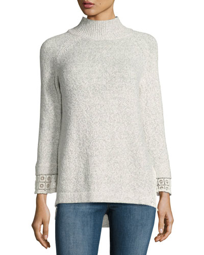 Lola Funnel-Neck Lace-Trim Sweater
