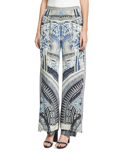 Double Layer Silk Flare Trousers, Blue Multicolor