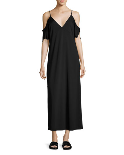 Luxe Ponte Cold-Shoulder Maxi Dress, Black