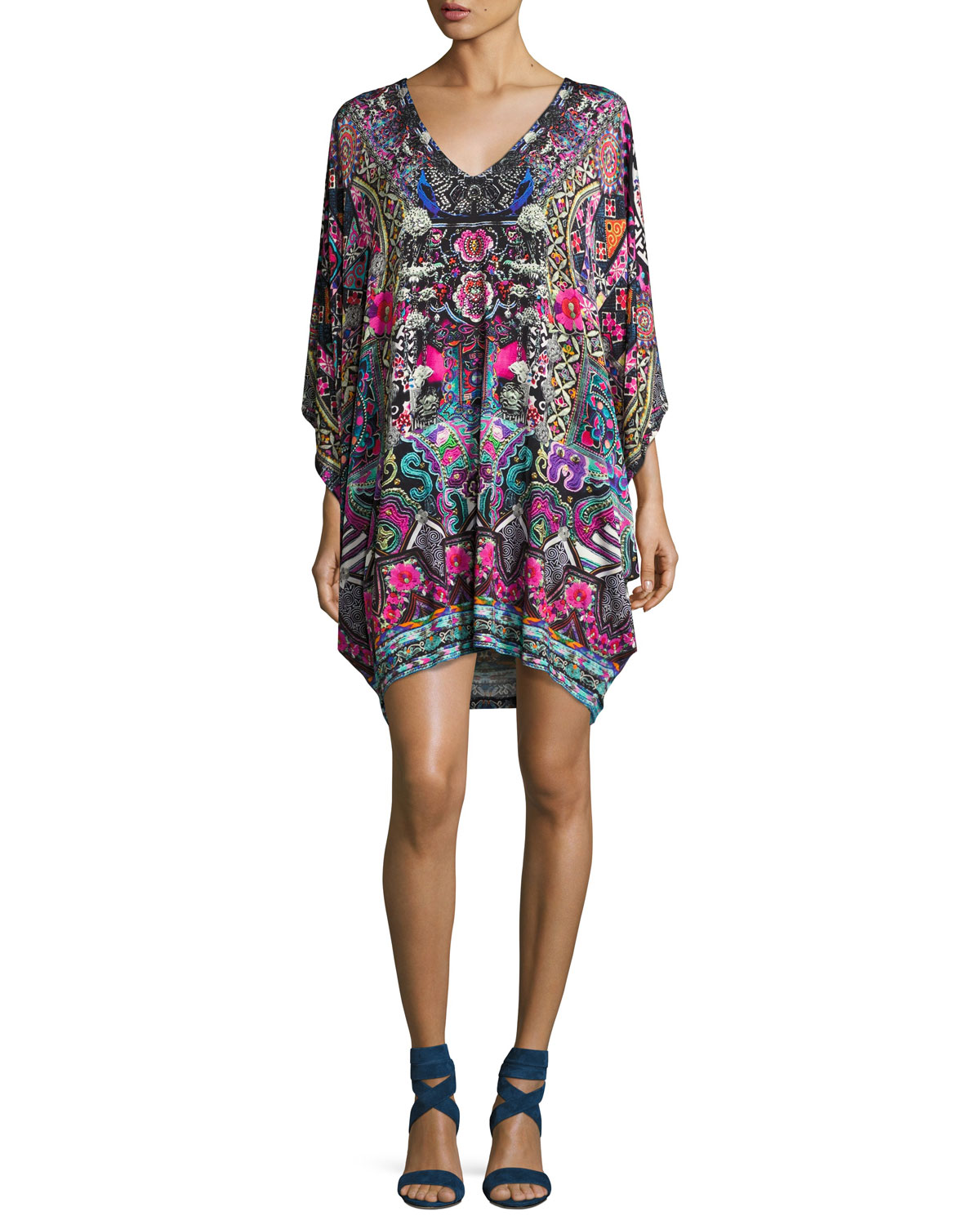 Batwing-Sleeve Embellished Minidress, Multicolor