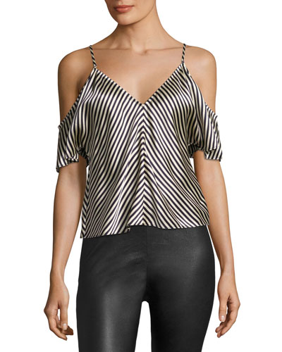 Striped Silk Charmeuse Cold-Shoulder Top, Ecru
