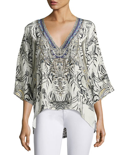 Embellished Crepe V-Neck Top, Multicolor