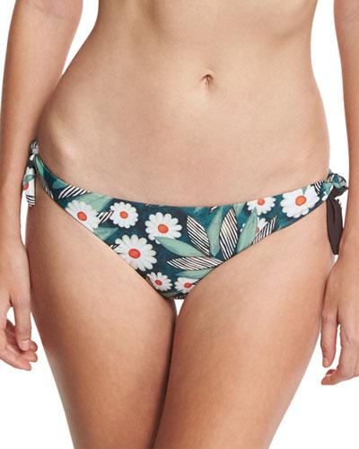 Tropical Floral Tie-Side Swim Bottom, Multicolor