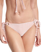 Striped Terry Tie-Side Swim Bottom, Pink