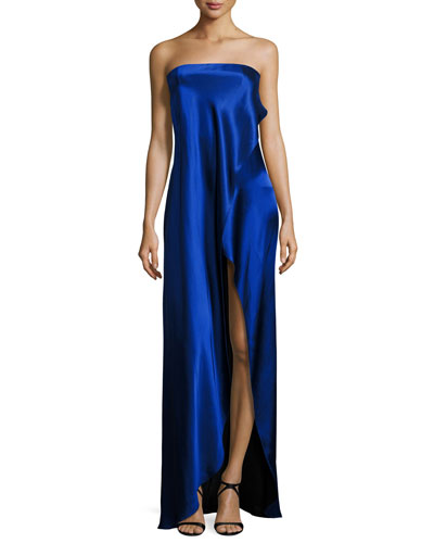 Strapless Draped Satin Side-Slit Gown, Blue