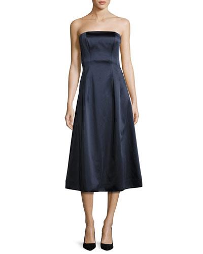 Satin Strapless A-Line Midi Gown, Blue