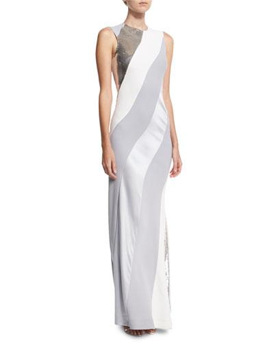 Sequined-Stripe Sleeveless Bias Gown, White