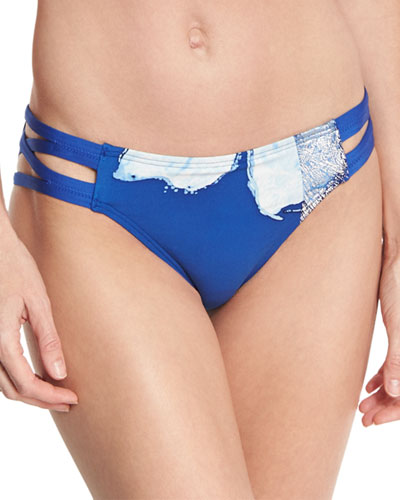 Strappy-Side Bikini Bottom, Blue