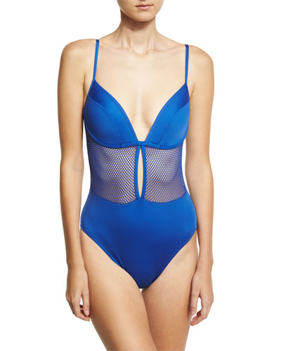 Lingerie Mesh V-Neck One-Piece Swimsuit, Blue