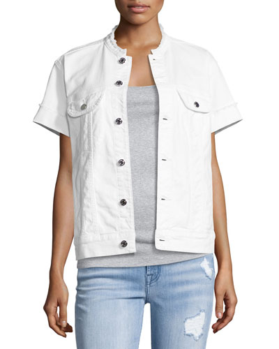Short-Sleeve Raw-Edge Denim Jacket, White