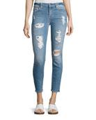 Destroyed Sequin Skinny Ankle Jeans, Indigo