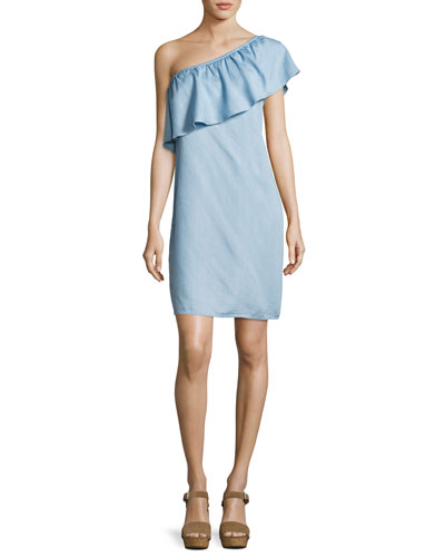 One-Shoulder Chambray Dress, Blue