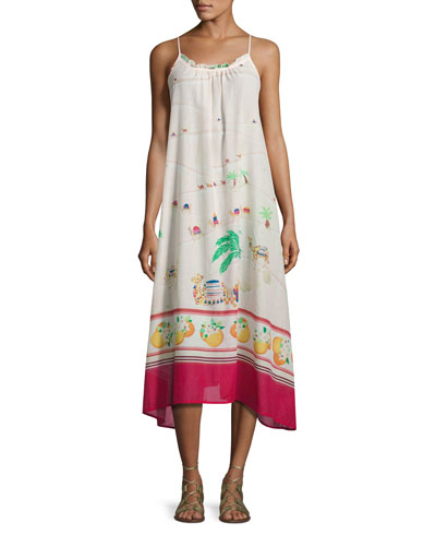 camel-print maxi coverup dress, white