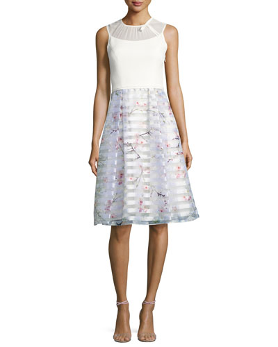 Monah Oriental Blossom Bow Dress, Light Gray