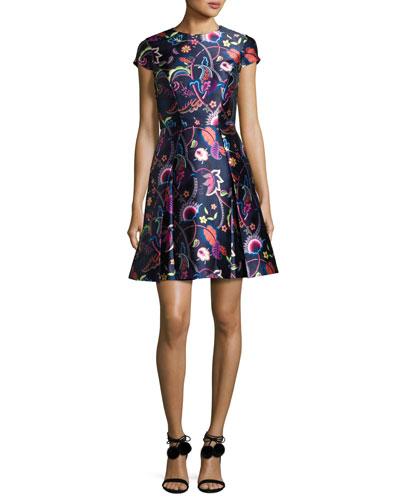 Fluxam Folk Foliage Skater Dress, Dark Blue