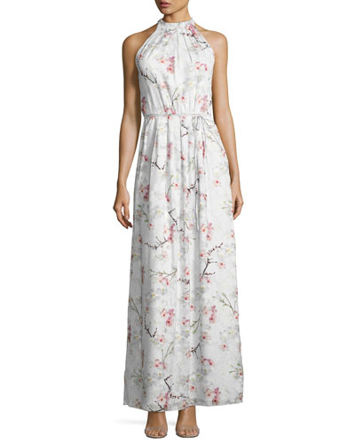 Elynor Cherry Blossom Maxi Dress, Light Gray