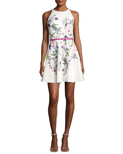 Samm Passion Floral-Print Skater Dress, Ivory