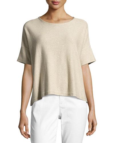 Organic Silk Sequined Top