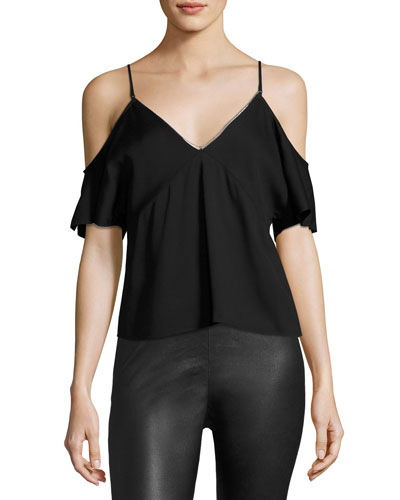 Stretch Crepe Cold-Shoulder Top, Black