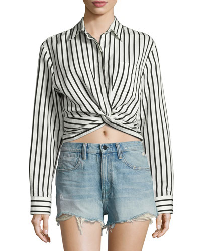 Long-Sleeve Striped Poplin Blouse, Black/White