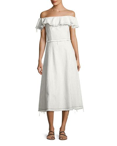 Striped Burlap Off-the-Shoulder Midi Dress, White