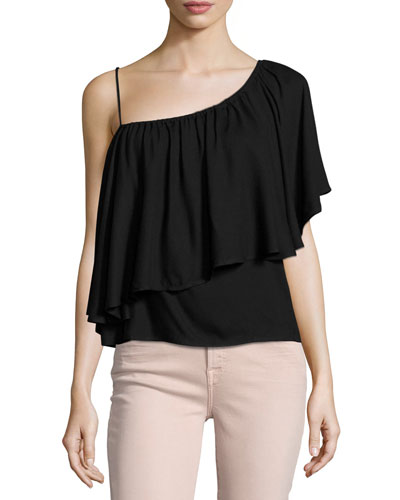 Stella One-Shoulder Ruffled Top, Black