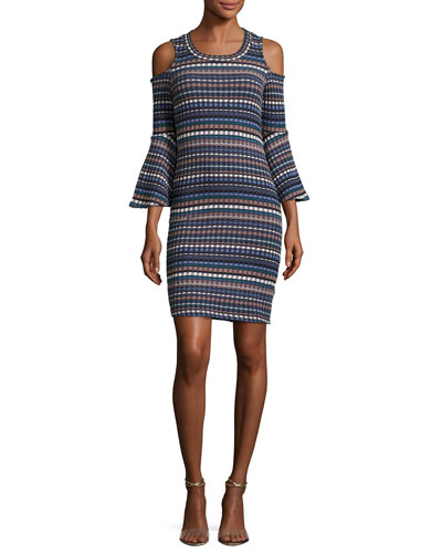 Nomadic Ribbed Cold-Shoulder Dress, Blue