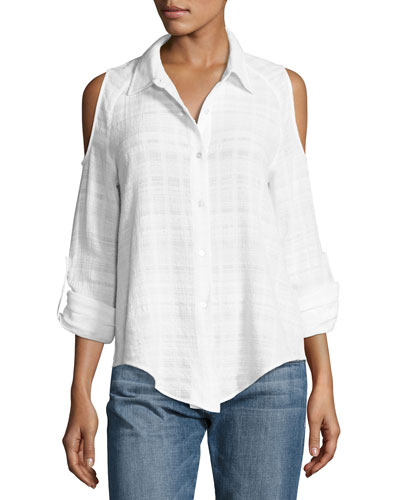 Natalia Gauze Check Cold-Shoulder Shirt, White