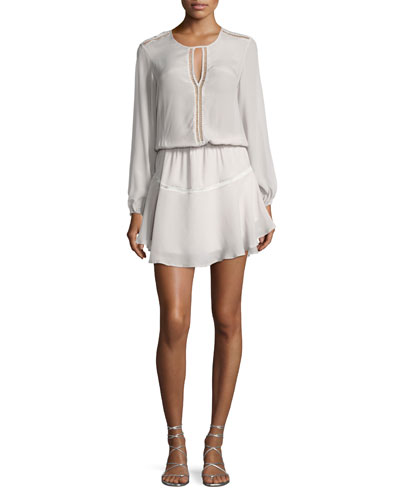 Titti Long Sleeve Keyhole Mini Dress, Silver