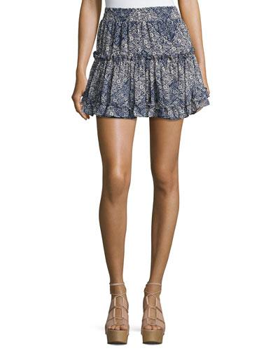 Marion Tiered Mini Skirt, Blue