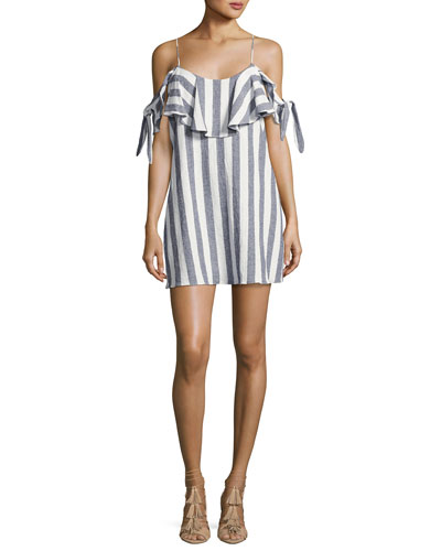 Nicolette Cold-Shoulder Striped-Print Dress, Blue/White