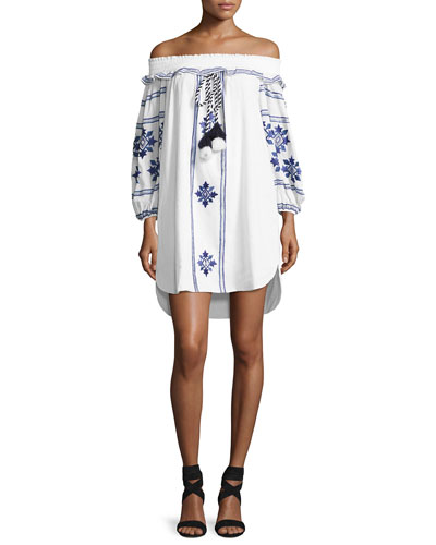 Natalie Off-the-Shoulder Embroidered Dress, White
