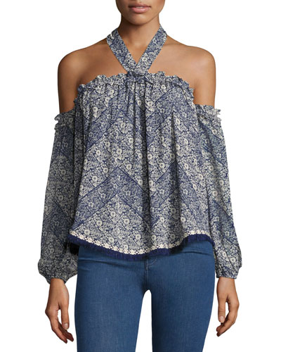 Livey Cold-Shoulder Printed Halter Blouse, Blue Pattern