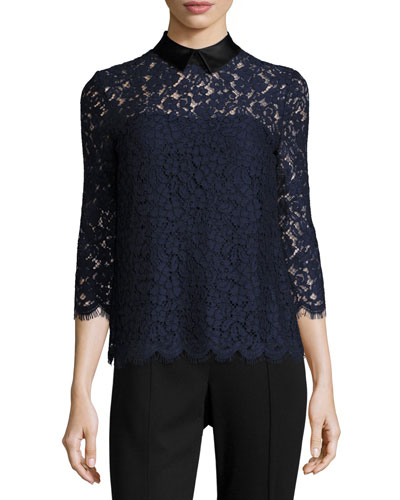 Oliver Floral-Lace Collared Top, Navy