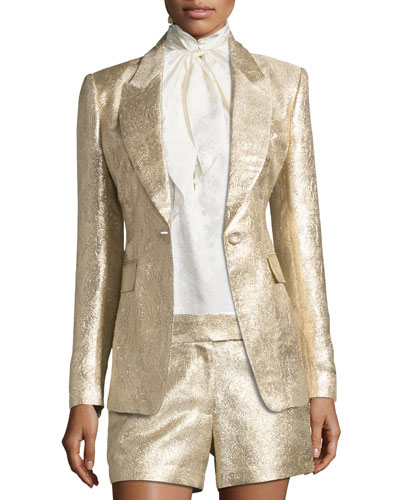 Rockefeller Metallic Single-Button Blazer, Gold