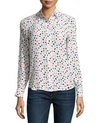 Kate Heart-Print Silk Blouse, Multi Pattern
