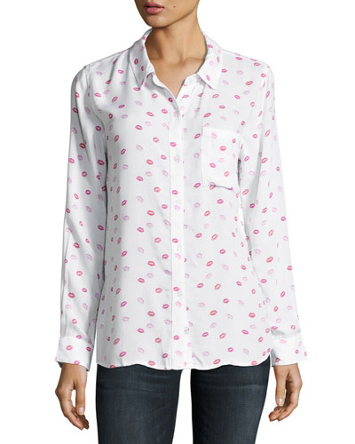 Rosci Kiss Me Button-Down Shirt, Pink/White